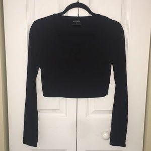 Express women's Black long sleeve crop top